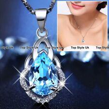 Necklaces for Women Blue Topaz GEMSTONE Tear 925 Silver Birthday Gifts Xmas B2