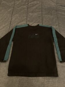 Vintage Nike Crewneck Sweater Gray Teal Big Logo Youth Size Large (14-16)