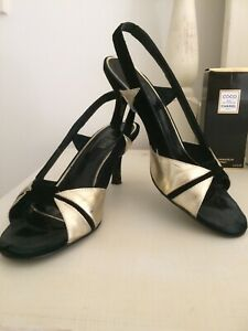 Mollini black suede and gold leather open toe slingback size 40