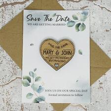 Personalised Rustic Oak Wedding Save The Date Heart Fridge Magnet Card Invites