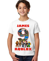 ROBLOX BOYS PERSONALISED BIRTHDAY T-SHIRT/AGES 3-14