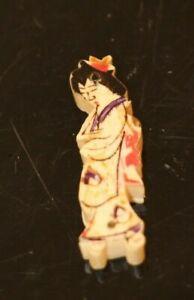Vtg. Signed  Miniature Carved Hand Painted Japanese Geisha Pendant