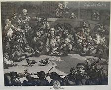 le combat de coq gravure 18ème original signé w hoggarth - vierpot - jeu flandre