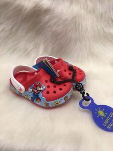 NEW Crocs Fun Lab Super Mario Nintendo  Lights Clog Childrens Size  C6