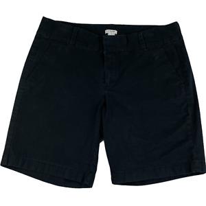 "J.Crew Bermuda Shorts Black Solid Pockets Flat Front Mid Rise Knit Women 10 8.5"""