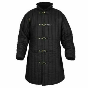 Thick padded Black Gambeson coat Aketon Medieval Jacket Armor reenactment SCA