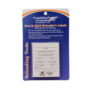 Frankford Arsenal Adhesive Shotgun Pistol and Rifle Reloader's Labels for Ammo B