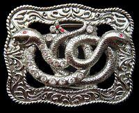 Snakes Serpents Cobras Reptile Rhinestone Belt Buckle Boucle De Ceinture