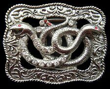 SNAKES SERPENTS REPTILE RHINESTONE BELT BUCKLE BUCKLES BOUCLE DE CEINTURE