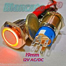 INTERRUTTORE a PULSANTE 19mm SPDT LED ARANCIO 12V DC IP67 DEVIATORE antivandalo