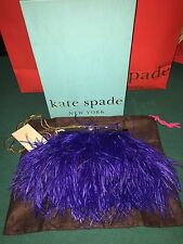 $398 KATE SPADE ELLIANA BLUE COBALT OSTRICH FEATHER CLUTCH BAG WITH BOX