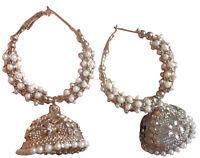 Indian CZ Round Shape Party   Fashion Jhumka Jhumki  Earrings Pearl