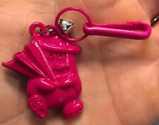 VTG 80s 3-D Critter Holding Umbrella Clip On Charm w/ Bell For Charms Necklace