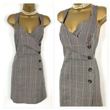 PRIMARK Pinafore Dress size 18 NEW Rust Brown Grey Check Tweed Office Workwear
