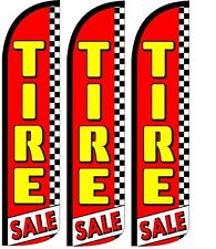 Tires Sale Red Windless Standard Size Swooper Flag Sign Banner Pk of 3