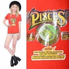 Vintage 70s PISCES Zodiac Astrology Star Sign Fish HOROSCOPE Thin Unisex T-Shirt