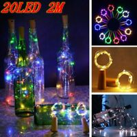 2M 20 LED String Battery Operated Copper Wine Bottle Wire Fairy Lights Party