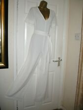16 VERY IVORY JUMPSUIT WIDE LEG ROCHELLE HUMES QUALITY SUMMER WEDDING PARTY NEW