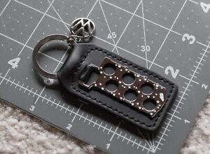 Keyfob Keychain Keyring Black Leather VR6 Cylinder Head Gasket VW charm