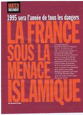COUPURE DE PRESSE CLIPPING 1995 Déjà la France sous menace islamique     4 pages