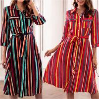 Boho Women Summer Holiday Stripe Mini Dress Button Party Casual Long Shirt Dress