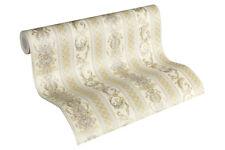 Luxus Vliestapete Ranken Streifen Optik creme weiß gold glanz 33547-2 Hermitage