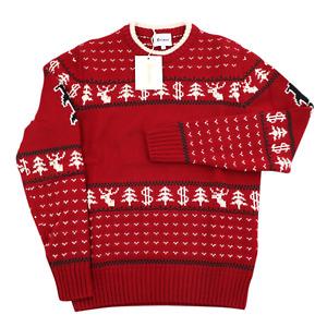 $885 NWT BRIONI Red Ivory Wool Crewneck Holiday Christmas Sweater XL (EU 54)