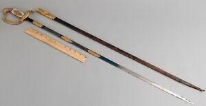 Antique WWI German, Bavarian Diplomat Court Sword Blued Gold Inlaid Blade