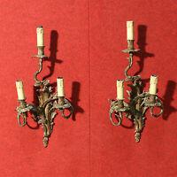 Coppia di appliques francesi bronzo dorato lampadario lampada stile antico 900