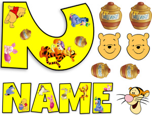 WINNIE THE POO INSPIRED NAME AND NUMBER PERSONALISED CAKE EDIBLE ICING TOPPER
