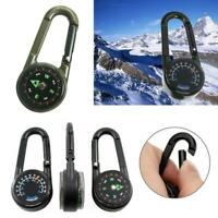 3 in 1 Compass Thermometer Outdoor Hiking Tactical Carabiner Ring Portable P3N7