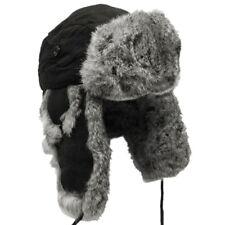 MFH Extra Warm Black Trapper Hat Russian Winter Cap Ear Flaps Rabbit Fur  S-xl 00bc5ae272f