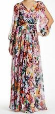 New with Tag-$381.00 Meghan LA Tropical Surplice Belted Waist Maxi Dress Size  L