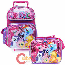 """My Little Pony 16"""" Large School Roller Backpack Lunch Bag 2pc Friendship Magic"""