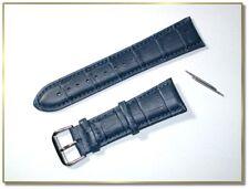 hochwertiges echt Leder Uhrenarmband Dunkelblau Krokodil  24mm breit 3441