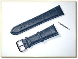 hochwertiges echt Leder Uhrenarmband Blau Krokodil  24mm breit  3,5mm dick  9772