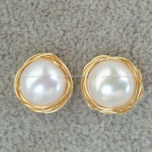 Stunning New Design Real 8x10mm White Akoya Pearl Earring 14k Gold P Stud
