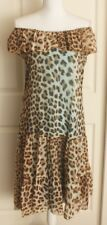 Blumarine Blugirl Turquoise Brown Leopard Print Silk Strapless Dress 44 US Sz 8