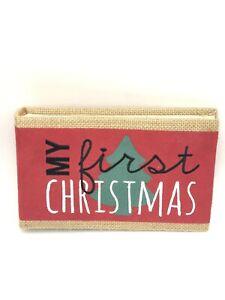 MY FIRST CHRISTMAS PHOTO ALBUM 4x6 PHOTO POCKETS BURLAP BY FETCO NEW