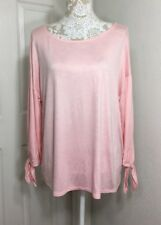 NORDSTROM GIBSON Womens Large Blush Pink Knit T Shirt Top Long Sleeve NWT