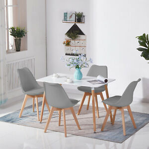 Dining Table & Chairs 2 4 6 Set Wooden legs Retro dining Room Chair Grey Kitchen