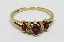 Ruby Diamond Gold Ring 10K Solid Gold Quality Marquis Ruby Round Diamonds BEAUTY