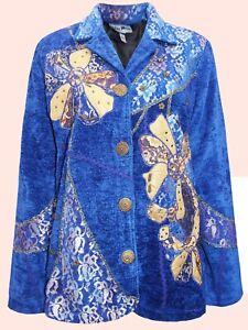 INDIGO MOON ROYAL BLUE Embellished Collared Jacket  UK Plus Sizes 16 to 22