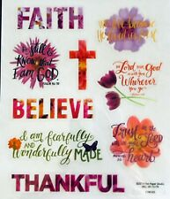 Religious Phrase Bible Verse Floral Faith Believe Scrapbook Stickers
