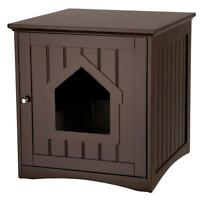 Wooden Cat House Home & Litter Box Indoor Outdoor Cat Shelter Brown