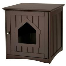 Wooden Cat House Home & Litter Box Indoor Outdoor Cat Shelter Brown