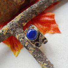 Lapislazuli & Amethyst, blau, vergoldet, Ring, Ø 19,0 mm, 925 Sterling Silber