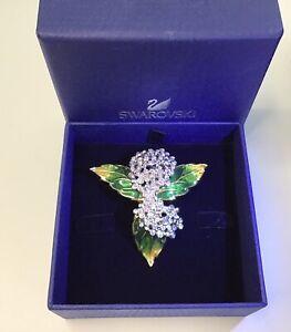 vintage swarovski brooch Goldtone 3D Flowers Leaves Multicolor Rhinestones Swam