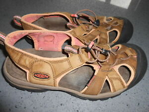 """""""KEEN"""" LADIES BROWN SANDALS, WORN BUT LIFE IN THEM YET 7.5"""