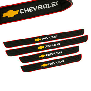 X4 RED Border Rubber Door Scuff Sill Cover Panel Step Protector for CHEVROLET